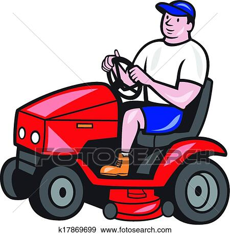 clip art of gardener mowing rideon lawn mower cartoon k17869699 rh fotosearch com lawn mower clip art pictures lawn mowing clipart
