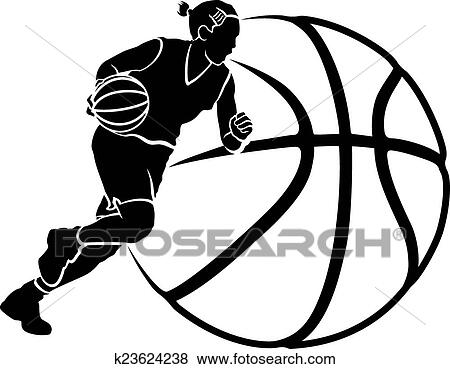 Girl Basketball Dribble Sihouette with Stylized Ball Clip ...