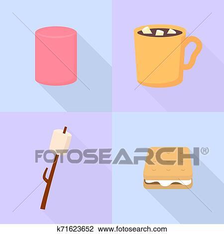 Marshmallow ícones Jogo Apartamento Estilo Desenho