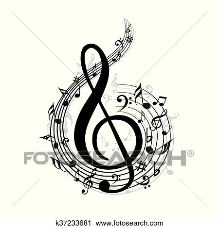 Clipart Of Music Note K37233681