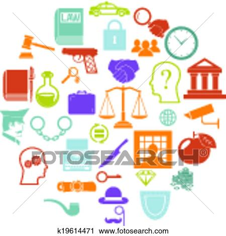 Clipart Of Round Card With Retro Flat Law Legal Justice Icons And