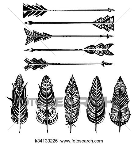 clip art of set of arrows and feathers on white background set of