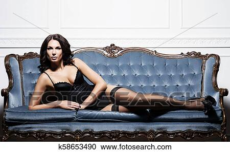 bb2af7d2b Stock Photography of Sexy brunette girl in erotic lingerie k58653490 ...