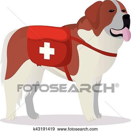 clip art of st bernard dog lifesaver k43191419 search clipart