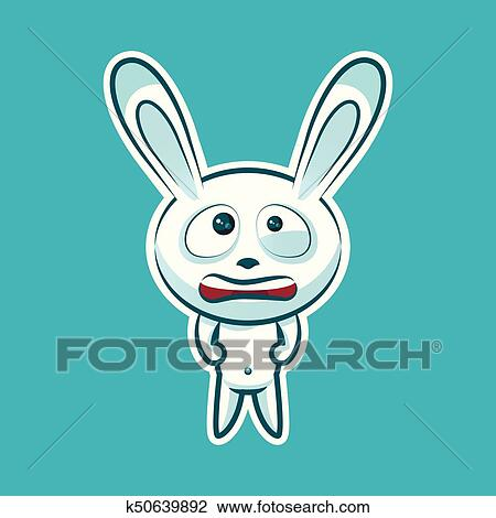 Sticker Emoji Emoticon Emotion Nervous Tense Twitching Eyes Vector Isolated Illustration Character Sweet Cute White Rabbit Bunny Hare Coney Cony Lapin For Happy Easter Clipart K50639892 Fotosearch