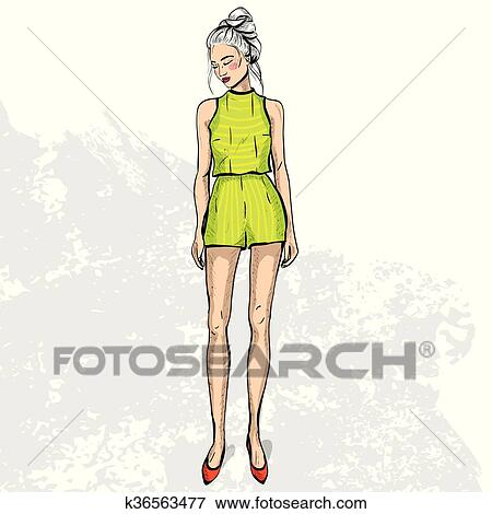 86fcde97c26a9 High trendy color look .Glamor stylish beautiful young woman model. Bright  colorful cloth. Fashion style