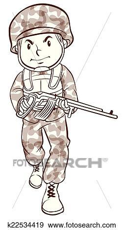 clipart um simples desenho de um soldado k22534419 busca de