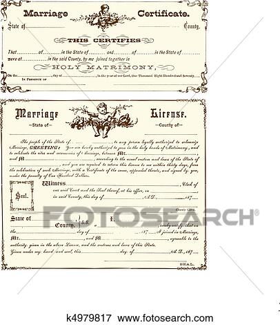 Clip Art of Vector Vintage Marriage Certificate k4979817 - Search ...