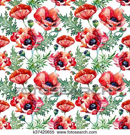 Stock Illustration Of Watercolor Poppy Flower Pattern K37420655