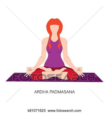 woman in ardha padmasana or yoga lotus pose clipart