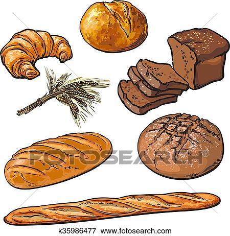 جديدة مثل الزهرة Pastries غضن Bread عزل عزل Clip Art K35986477 Fotosearch