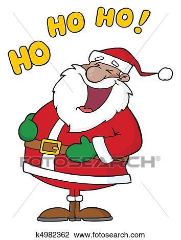 Babbo Natale Ho Ho Ho.Americano Africano Babbo Natale Clipart