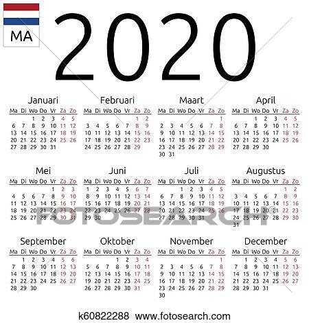 Calendario 2020 Semanas.Calendario 2020 Holandes Segunda Feira Clipart
