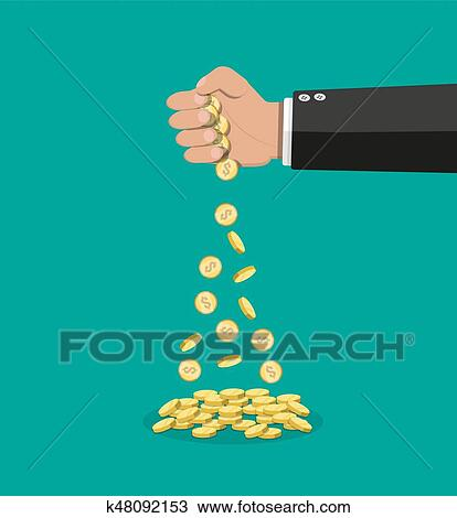 Cartoon businessman hand losing golden coins. Clipart | k48092153 | Fotosearch
