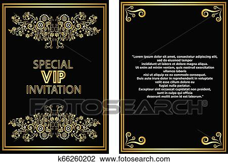 Golden Floral Vip Invitation Card Template Clipart