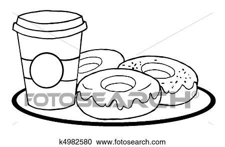 Clipart - kaffeetasse, mit, donuts k4982580 - Suche Clip Art ...