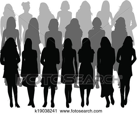 Clipart Of Large Group Of Women Silhouette Vector K19038241