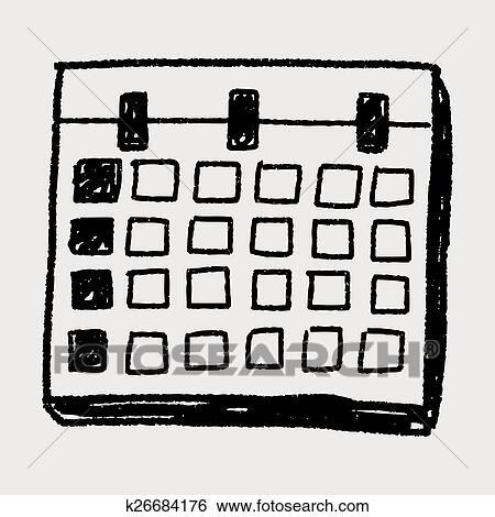 Mensal Calendario Doodle Desenho Clipart K26684176 Fotosearch