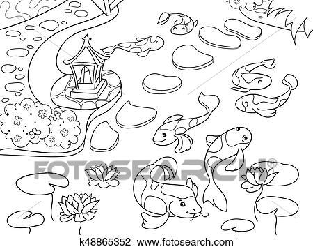 Natur Von Japan Ausmalbilder Für Kindern Cartoon Japangarten Vektor Abbildung Clipart