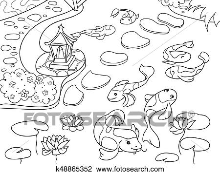 Clipart of Nature of Japan coloring book for children cartoon ...
