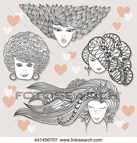 Sketches of girls with different hairstyles Clip Art