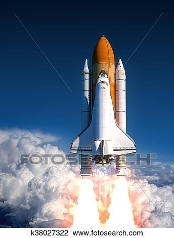 Space Shuttle Launch In The Clouds Drawing K38027322 Fotosearch