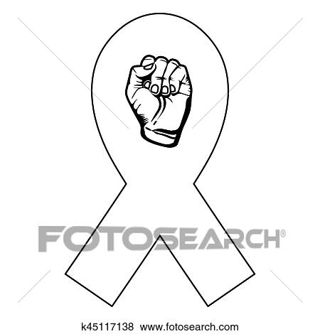 Clip Art Of Symbol Hand Breast Cancer Defense Ribbon K45117138