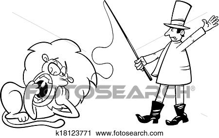 Black And White Cartoon Humor Illustration Of Tamer Bored Lazy Lion For Coloring Book