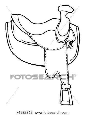Clipart - umrissen, pferd, pferdesattel k4982352 - Suche Clip Art ...