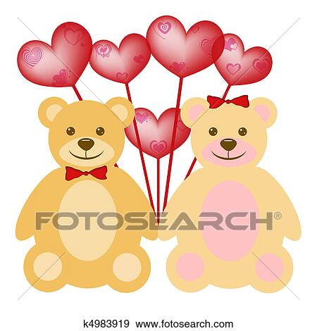 Stock Illustration Of Valentine S Day Teddy Bear Couple With Red