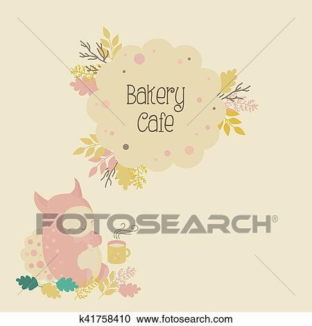 子供 パン屋 カフェ ロゴ そして かわいい モンスター クリップ