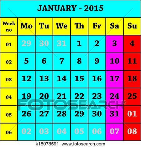 Calendario Con Numero Settimane.2015 Gennaio Calendario Iso 8601 Con Settimana Numero Clipart