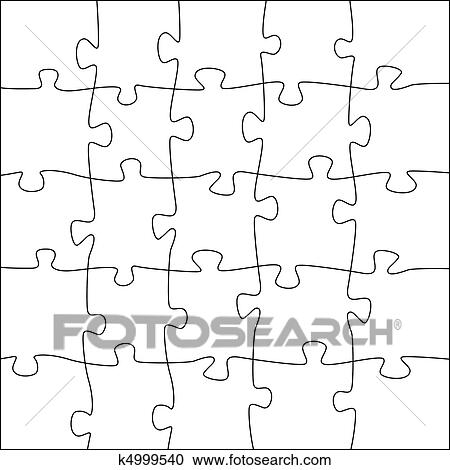 Clipart Of 5x5 Jigsaw Puzzle Template