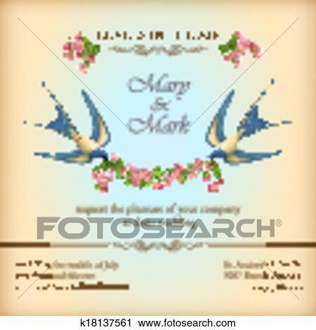 Clipart Blumen Hochzeitskarten Karte Mit Blumen Vogel