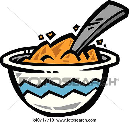clip art of bowl of cereal vector icon k40717718 search clipart rh fotosearch com Empty Cereal Bowl bowl of cereal clip art black and white