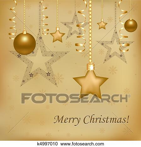 christmas and new year illustration with new years spheres stars and streamer vector illustration