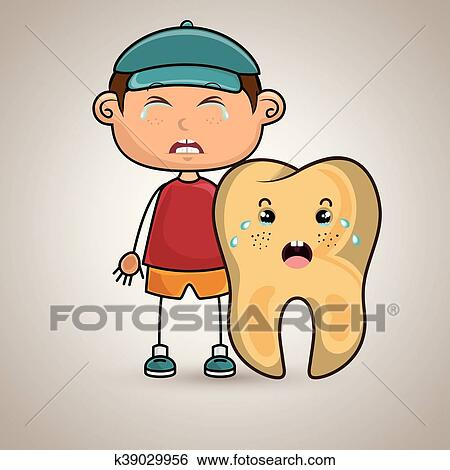 Crying Cartoon Boy And Tooth For A Toothache Clip Art K39029956 Fotosearch