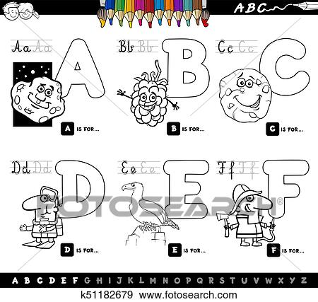 Educational cartoon alphabet letters coloring book Clip Art