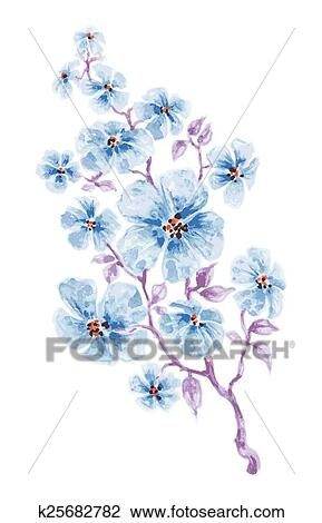 Flores Azules Rama Acuarela Clipart K25682782