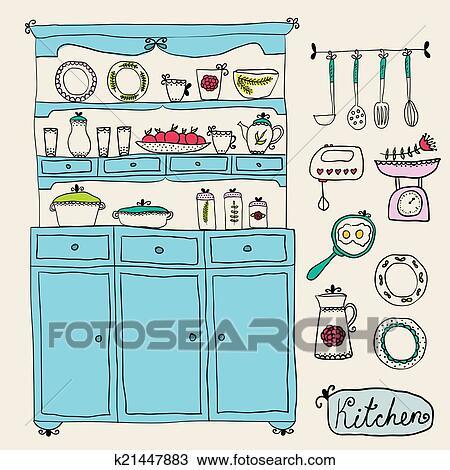Affordable cucina set in vector disegno elements archivio - Disegnare una cucina componibile ...