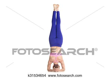 supported headstand yoga pose picture  k31534654  fotosearch