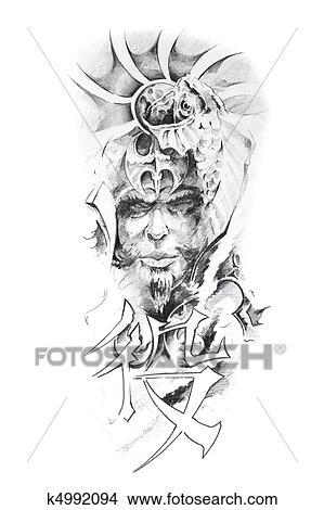 Dessins Tatouage Art Croquis De A Japonaise Guerrier