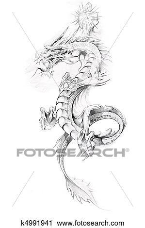 Croquis Tatouage banques de photographies - tatouage, art, croquis, de, a, dragon