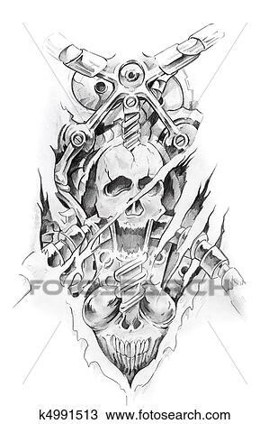 Croquis De Tatouage dessin - tatouage, art, croquis, de, a, machine, et, crâne k4991513