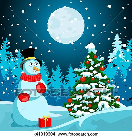 Winter Landscape Christmas Night New Year S Eve Clipart K41819304 Fotosearch