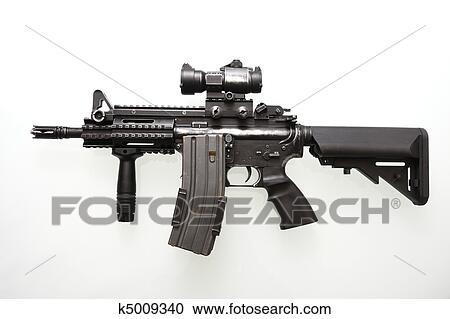 ストックフォト 写真素材 重く 使われた 軍 m16 ライフル銃