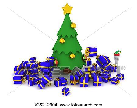 3d Karakter En Teveel Cadeautjes Ongeveer De Kerstboom Stock