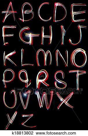 stock photo of alphabet light neon writing long exposure k18813802