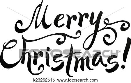 Merry Christmas Writing.Black Merry Christmas Hand Writing Lettering Isolated On White Background Clipart