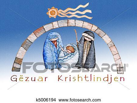 Auguri Di Natale In Albanese.Buon Natale In Albanese Archivio Illustrazioni K5006194 Fotosearch